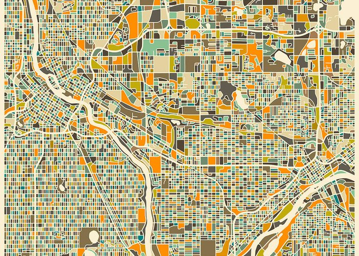 Twin Cities Map Greeting Card featuring the digital art Twin Cities by Jazzberry Blue