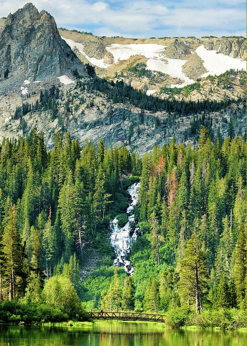Twin Lakes Waterfall Greeting Card featuring the photograph Twin Lakes Waterfall by Surjanto Suradji