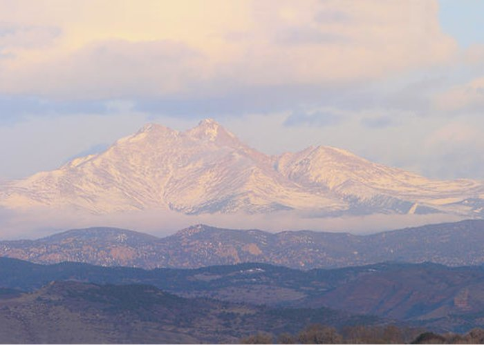 Longspeak Greeting Card featuring the photograph Twin Peaks Meeker And Longs Peak Panorama Color Image by James BO Insogna