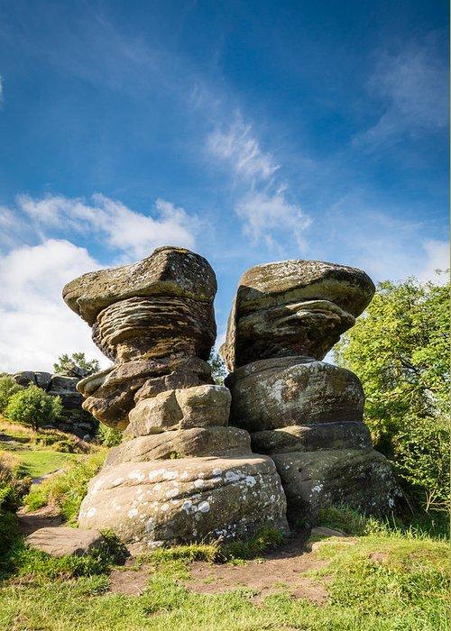 Aonb Greeting Card featuring the photograph Twin Rocks At Brimham by David Head