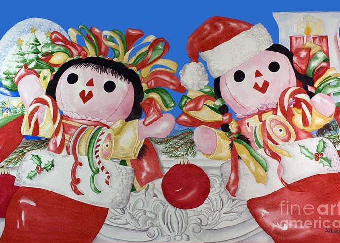 Christmas Cards Greeting Card featuring the painting Twin Stockings by Kandyce Waltensperger