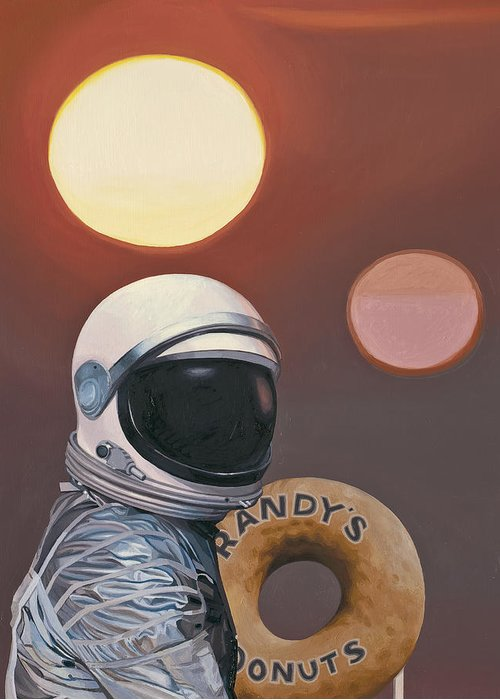 Space Greeting Card featuring the painting Twin Suns and Donuts by Scott Listfield