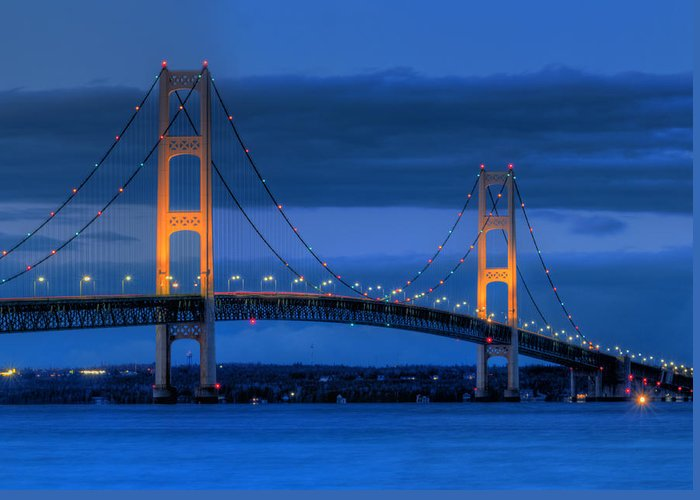 Mackinac Greeting Card featuring the photograph Twin Towers Of Northern Michigan by Twenty Two North Photography