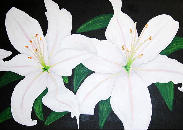 Lillies Greeting Card featuring the painting Twin White Lillies by Sarah England-Rocca