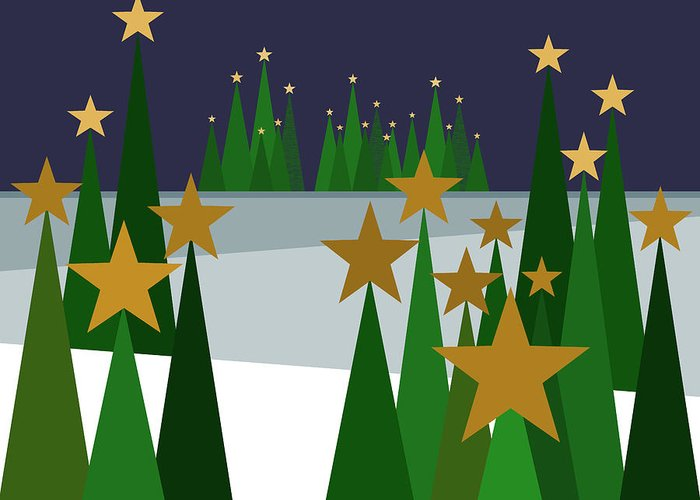Twinkling Forest Greeting Card featuring the digital art Twinkling Forest by Val Arie
