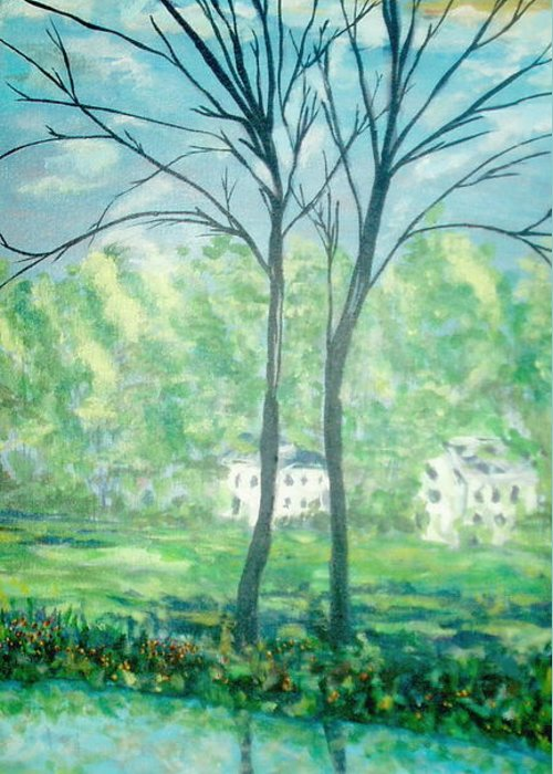 Landscape Greeting Card featuring the painting Twins By The Lake by Reina Resto