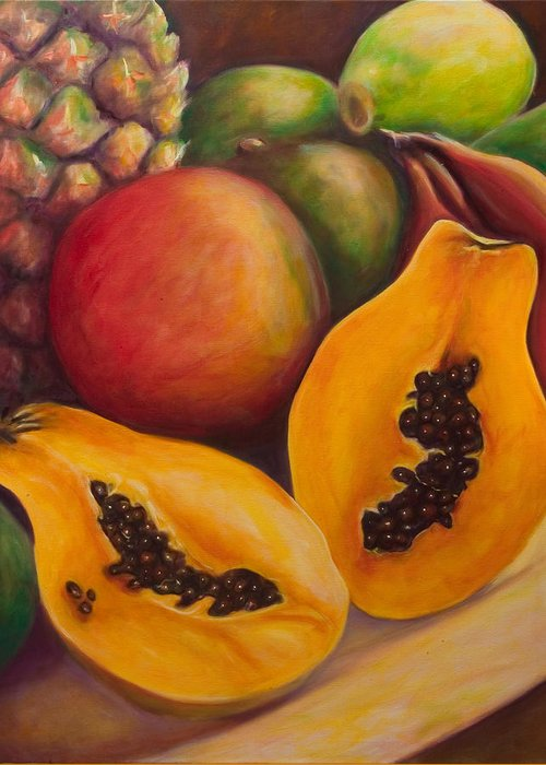 Papaya Greeting Card featuring the painting Twins by Shannon Grissom