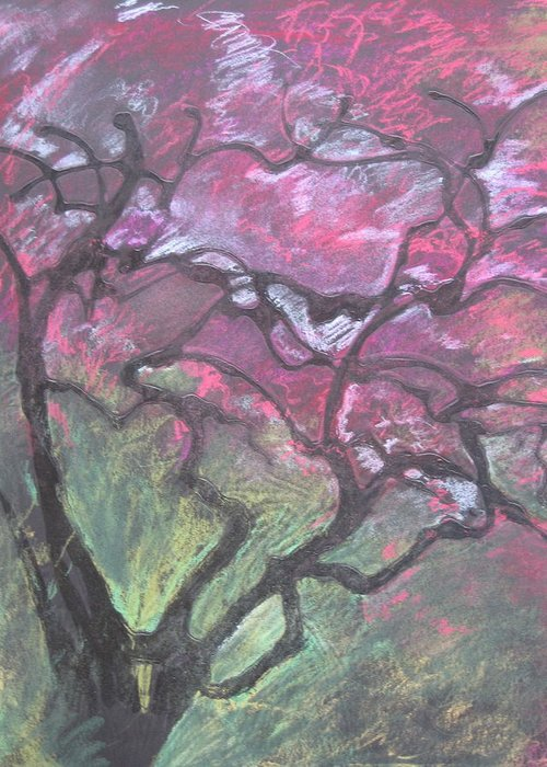 Pastel Greeting Card featuring the drawing Twisted Cherry by Leah Tomaino