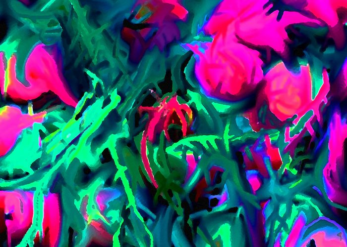Abstract Greeting Card featuring the digital art Twisted by Ian MacDonald