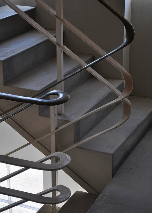 Rails Rail Handrail Stairs Staircase Greeting Card featuring the photograph Twisted Rails by Jason Lee