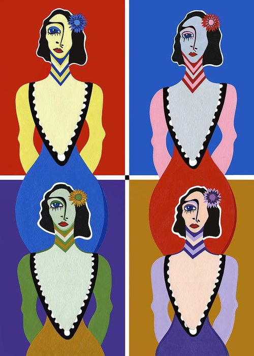 Pop Art Greeting Card featuring the painting Twisted Sisters by Ruby Persson