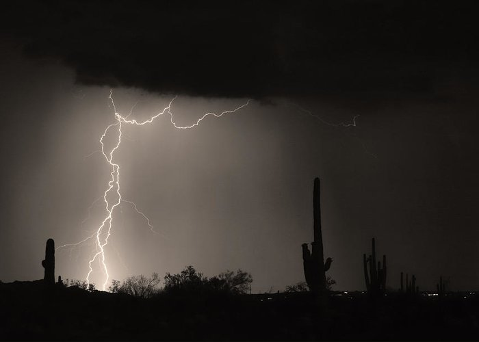 Lightning Photography Greeting Card featuring the photograph Twisted Storm - Sepia Print by James BO Insogna