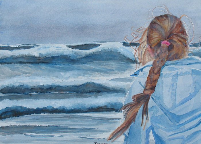 Ocean Greeting Card featuring the painting Twixt Wind And Water II by Jenny Armitage
