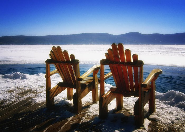 Landscape Greeting Card featuring the photograph Two Adirondack Chairs by George Oze