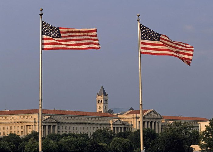 United States Of America Greeting Card featuring the photograph Two American Flags With Old Post Office Building by Sami Sarkis
