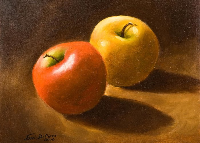 Greeting Card featuring the painting Two Apples by Joni Dipirro