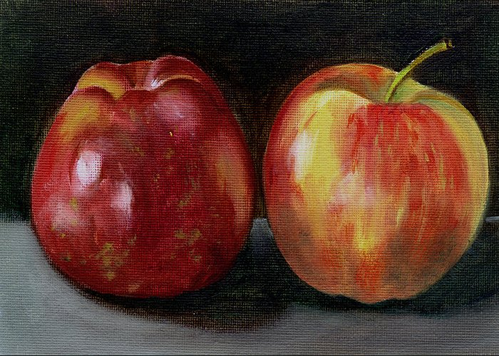 Oil Greeting Card featuring the painting Two Apples by Sarah Lynch