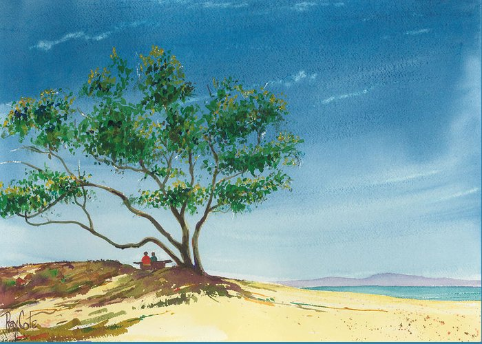 Picnic At The Beach Greeting Card featuring the painting Two At The Beach by Ray Cole