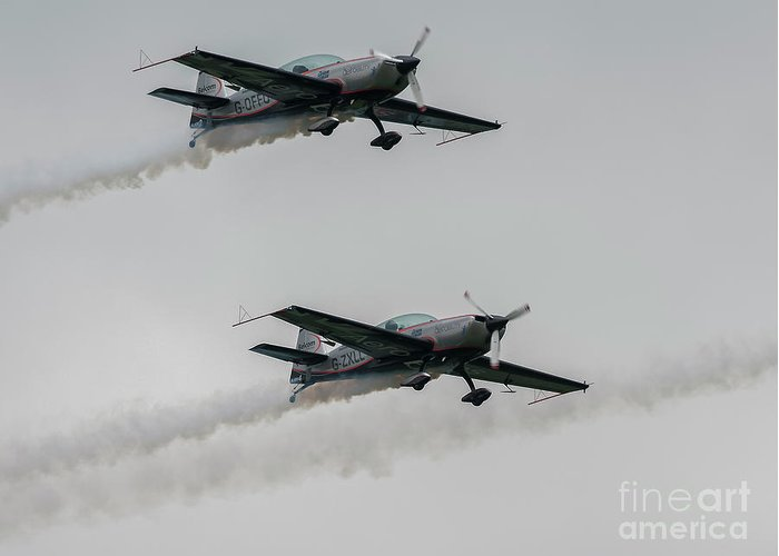 Ea-300 Greeting Card featuring the photograph Two Blades Extra Ea-300 Planes by Philip Pound