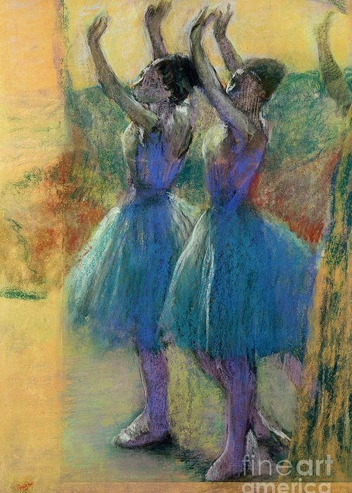 Two Blue Dancers (pastel On Paper) By Edgar Degas (1834-1917) Greeting Card featuring the pastel Two Blue Dancers by Edgar Degas