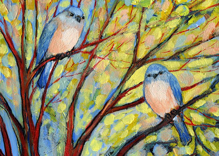 Bird Greeting Card featuring the painting Two Bluebirds by Jennifer Lommers