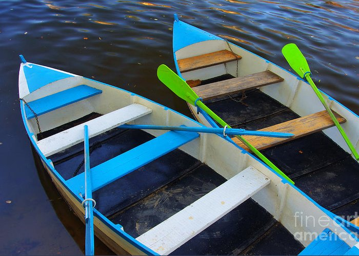 Anchored Greeting Card featuring the photograph Two Boats by Carlos Caetano