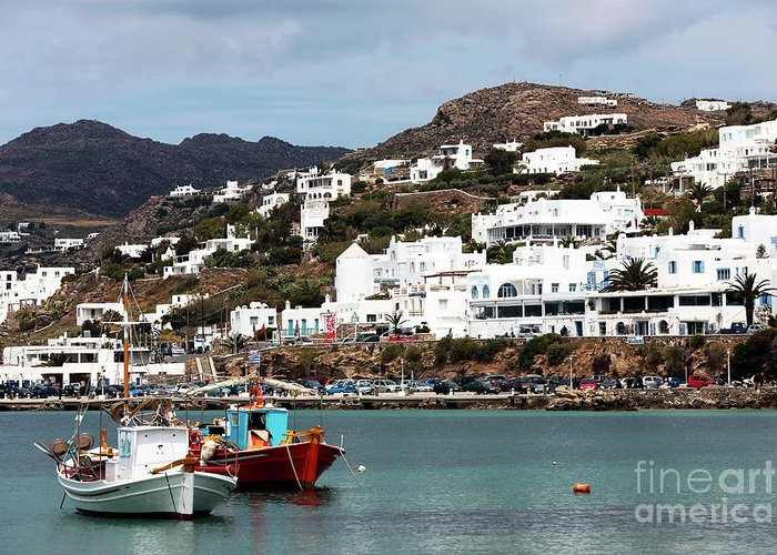 Two Boats In The Mykonos Harbor Greeting Card featuring the photograph Two Boats In The Mykonos Harbor by John Rizzuto