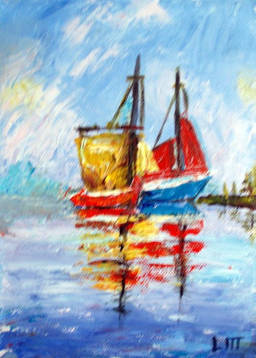 Water Greeting Card featuring the painting Two Boats by Lia Marsman