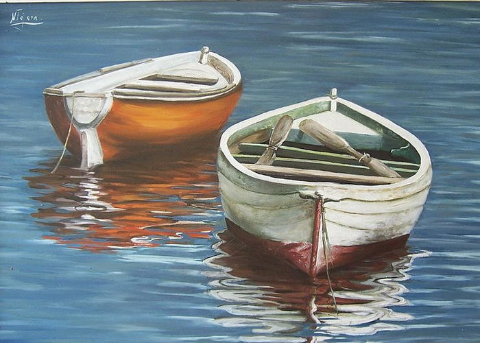 Boats Reflection Seascape Water Boat Sea Ocean Greeting Card featuring the painting Two Boats by Natalia Tejera