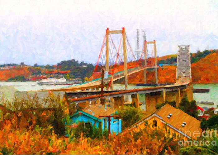 Transportation Greeting Card featuring the photograph Two Bridges In The Backyard by Wingsdomain Art and Photography