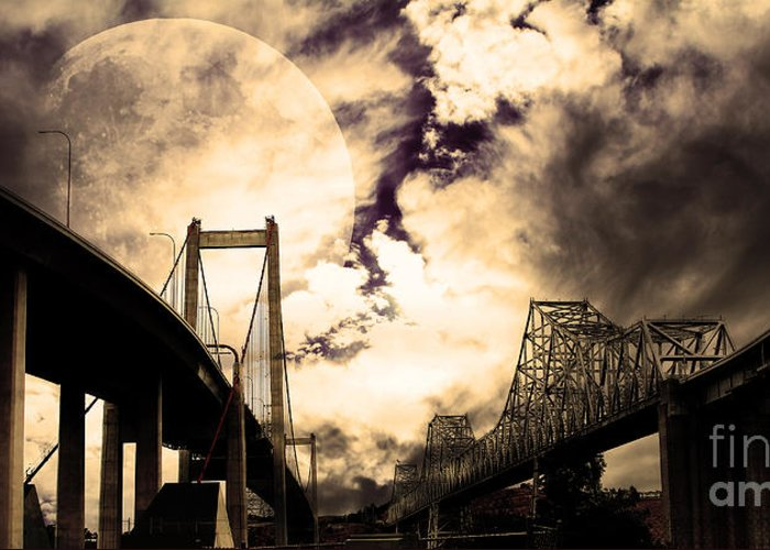 Transportation Greeting Card featuring the photograph Two Bridges One Moon by Wingsdomain Art and Photography