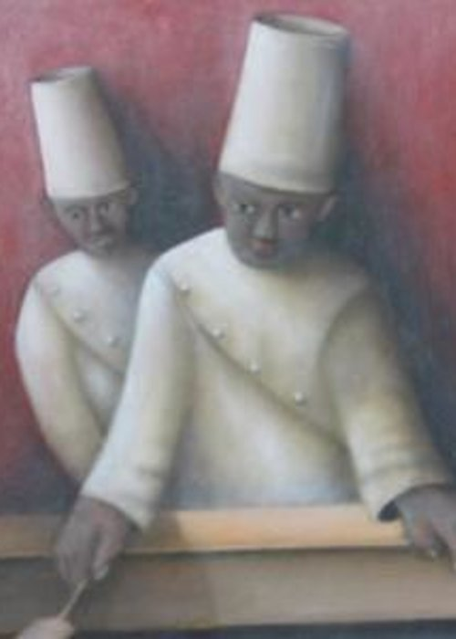 Greeting Card featuring the painting Two Chefs by Alfredo DeCurtis