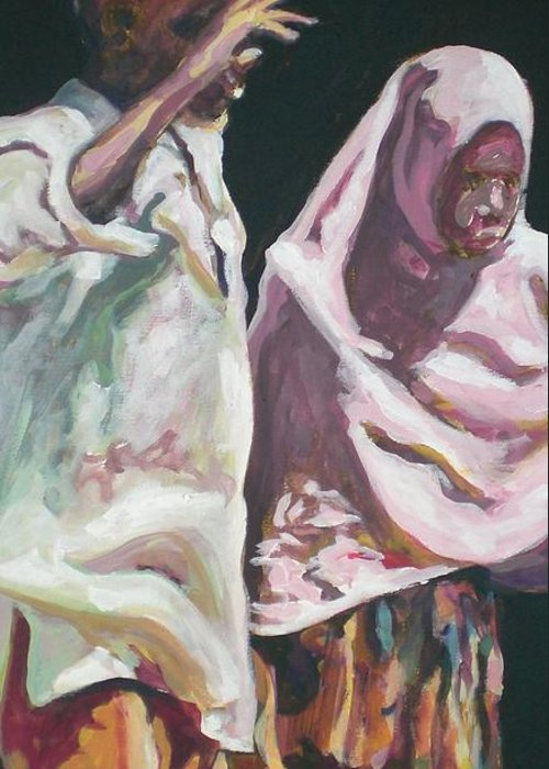 Africa Greeting Card featuring the painting Two Children by Aleksandra Buha