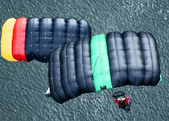Parachute Greeting Card featuring the photograph Two Chutes by Robert Suits Jr