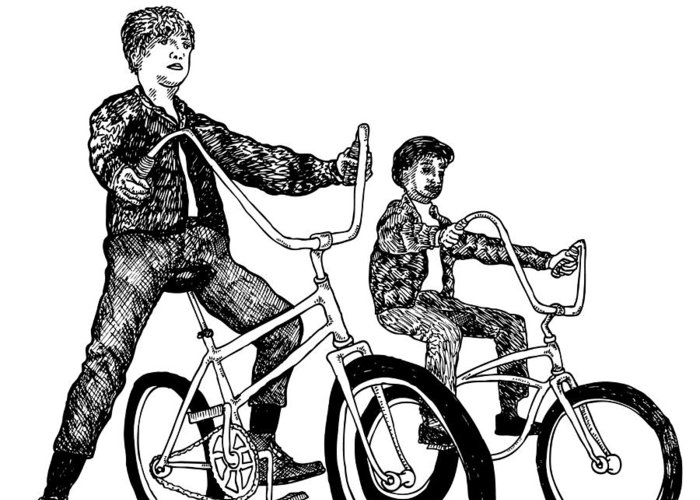 Drawing Greeting Card featuring the drawing Two Cool Riders by Karl Addison