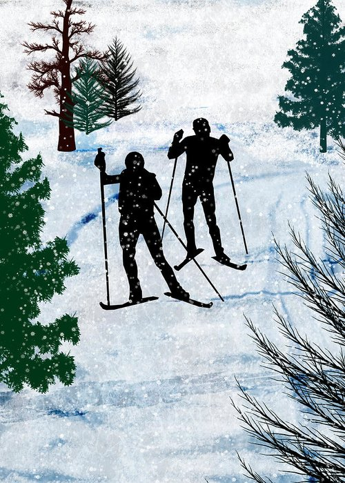 Ski Greeting Card featuring the painting Two Cross Country Skiers In Snow Squall by Elaine Plesser