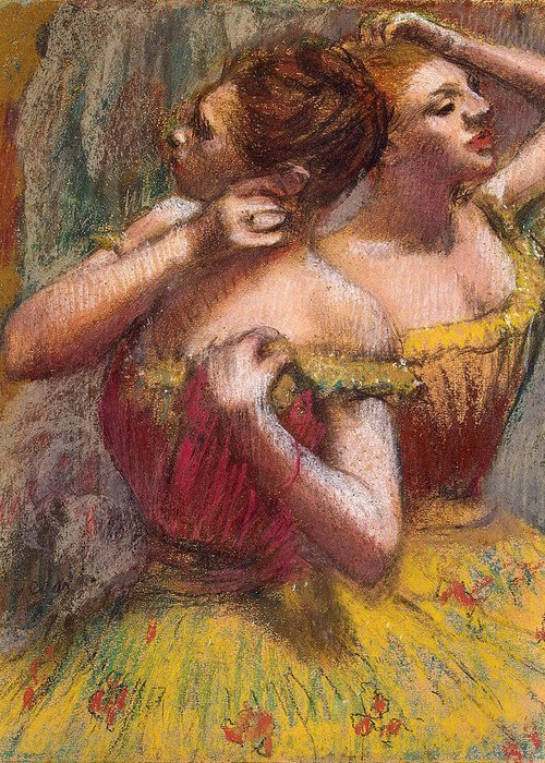 Two Dancers (pastel On Paper) By Edgar Degas (1834-1917) Greeting Card featuring the pastel Two Dancers by Edgar Degas