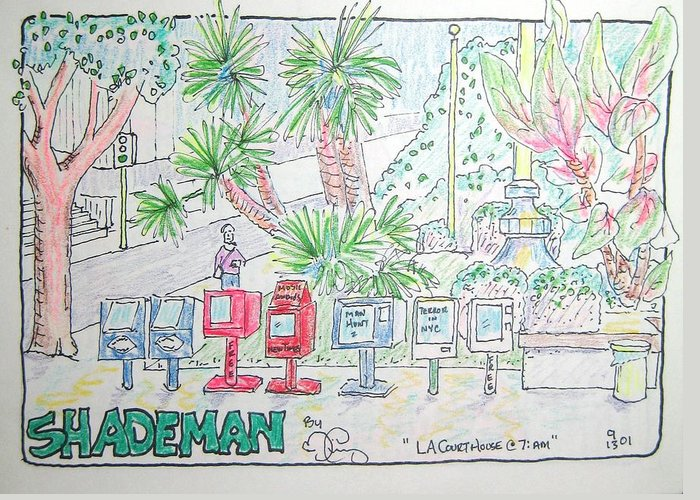 Landscape Greeting Card featuring the drawing Two Days After Nine Eleven by Robert Findley