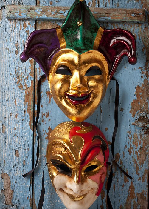 Masks Greeting Card featuring the photograph Two Decortive Masks by Garry Gay