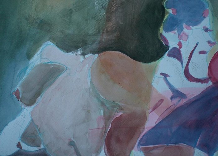 Nude Greeting Card featuring the painting Two Figures by Aleksandra Buha