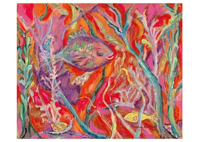 Fish Greeting Card featuring the painting Two Fish And A Snail by Marlene Robbins