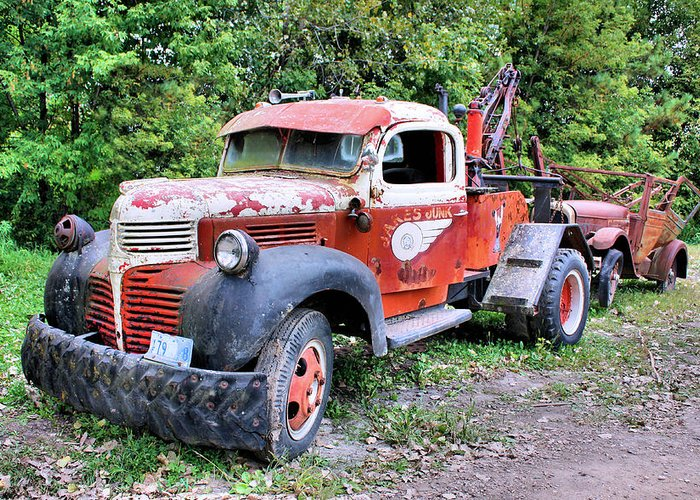 Old Truck Greeting Card featuring the photograph Two for One by Kristin Elmquist