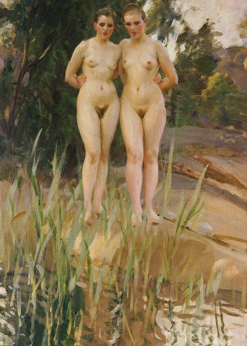 Nude Greeting Card featuring the painting Two Friends by Anders Leonard Zorn