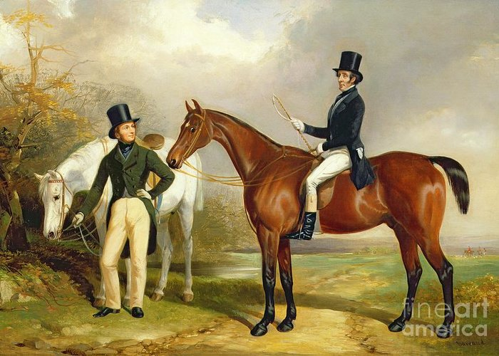 Two Greeting Card featuring the painting Two Gentlemen Out Hunting by Henry Barraud