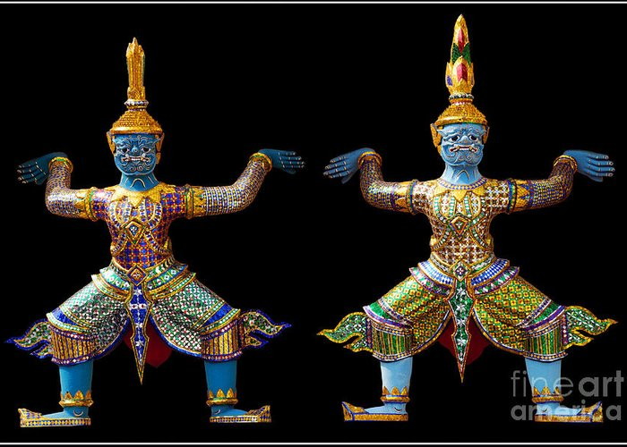 God Buddhism Thailand Culture Color Greeting Card featuring the photograph Two Gods by Ty Lee