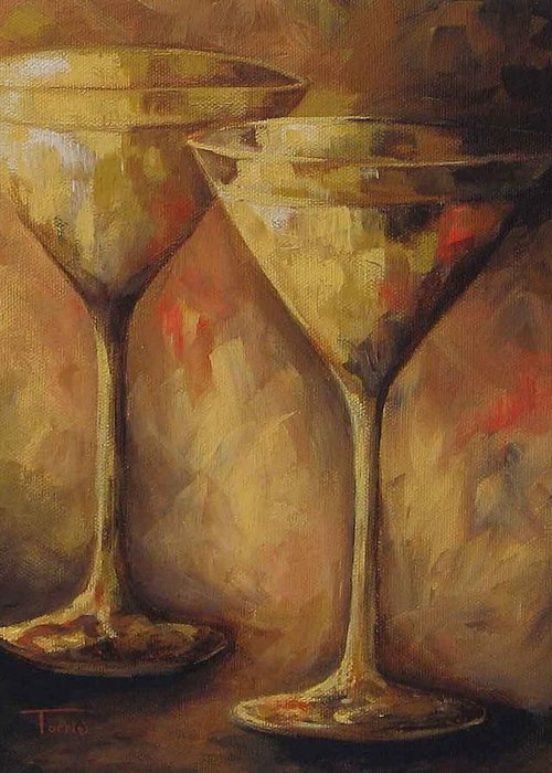 Martini Greeting Card featuring the painting Two Golden Martinis by Torrie Smiley