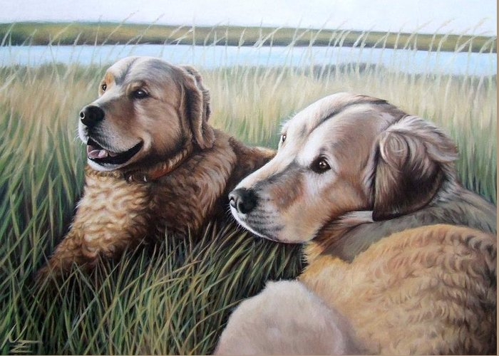 Dogs Greeting Card featuring the painting Two Golden Retriever by Nicole Zeug