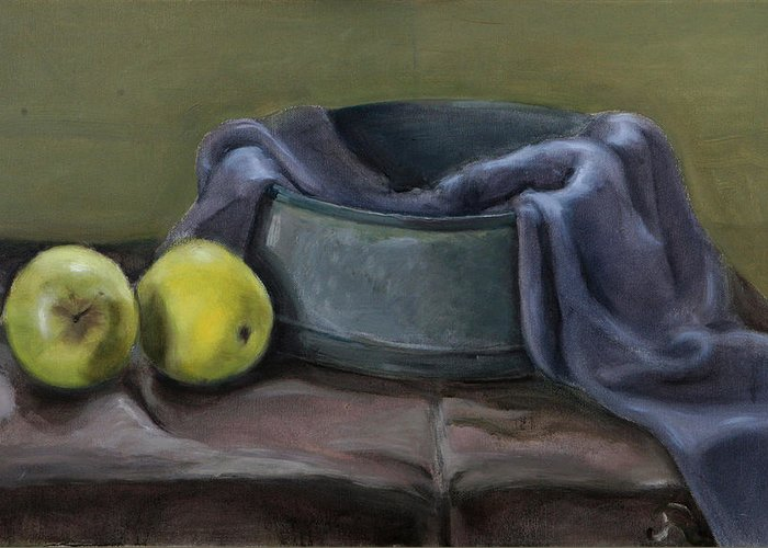 Still-life Apples Green Greeting Card featuring the painting Two Green Apples by Raimonda Jatkeviciute-Kasparaviciene