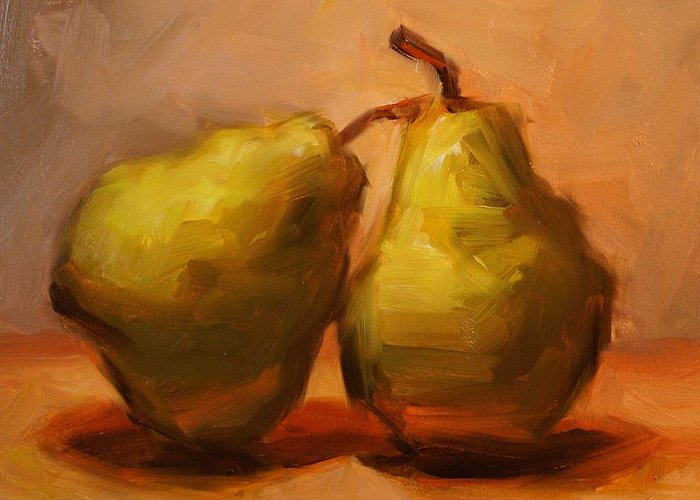 Pears Greeting Card featuring the painting Two Green Pairs Print Lean On Me by Patti Trostle
