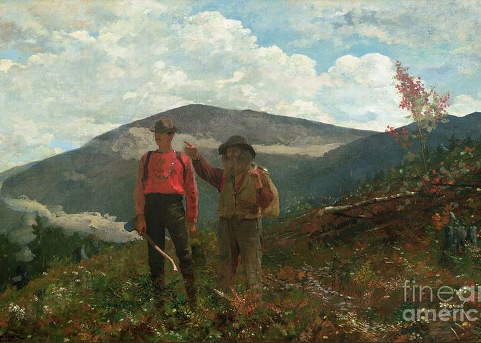 Two Guides Greeting Card featuring the painting Two Guides by Winslow Homer
